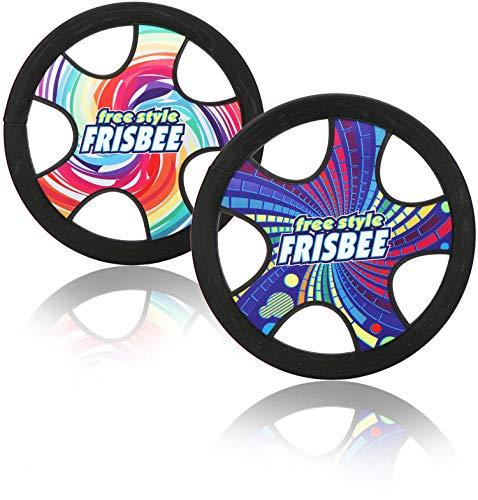 com-four® 2X Freestyle Frisbee für Kinder und Erwachsene - leichte Wurfscheibe - wasserfeste Frisbeescheibe - 30 cm Flugscheibe [Auswahl variiert] (2 Stück - bunt)