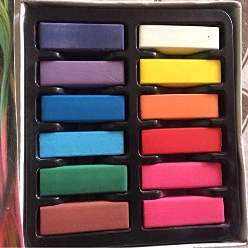 NIUHAIQING 12 Farben/Set 2020 Neue Frauen Mädchen Ungiftig Temporäres Salon-Kit Pastellkreide Pastellkreide Verwendung Für Haare Beige