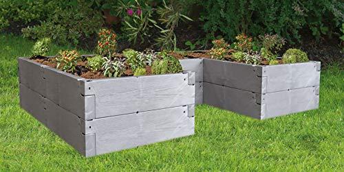 JUWEL Hochbeet Timber Ergoline (Variable Aufbauweise, 100% recyclebar, Gartenbeet aus Kunststoff, Füllinhalt 1650 l) 20829, grau