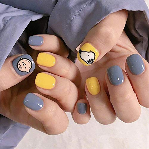 CSCH Faux ongles Bright yellow and cream blue hit pure color with cartoon pattern fake nails Japanese cute short size full nail tips false nails