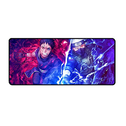 Bellagster-Stitched Edge Mouse pad/Naruto Obito and Kakashi Anime Mouse pad/XL XXL Gaming Mouse pad Non-Slip/Anti-Dirty/Waterproof Mouse pad-27.5 inches × 11.8 inches (700 mm 300 mm)