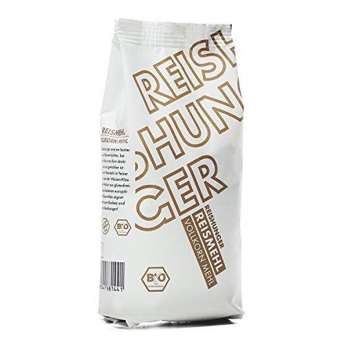 Reishunger BIO Vollkorn Reismehl aus Natur Reis, 3er Pack (3 x 500 g) Glutenfreies Mehl - Perfekt zum Backen von frischem Brot und Kuchen - Erhältlich in 500 g bis 4 kg