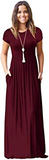 Meou & Moi Women's Short Sleeve Loose Fit Casual Maxi Dress with Pockets (XL, Burgundy Wine)