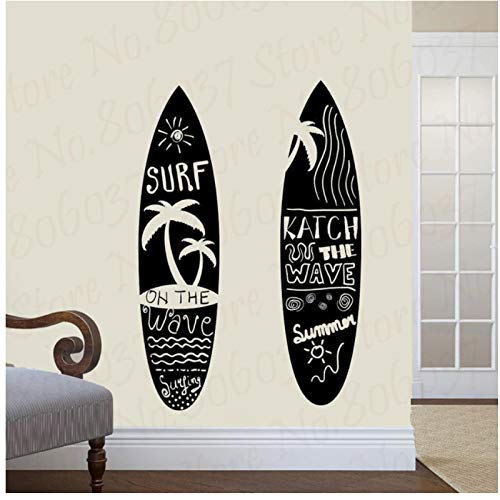 WYLYSD Tabla De Surf Surf Pegatina De Surf Surf Coche Calcomanía Carteles Pared Barco Yate Decoración Mural Pegatina 80X80Cm