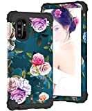 ZHK Galaxy Note 10 Plus Case for Women, Floral 3 Layer Heavy Duty Shockproof Case Full-Body Protection Armor Anti-Scratch Protective Cover for Samsung Galaxy Note 10 Plus (2019 Release)-Rose