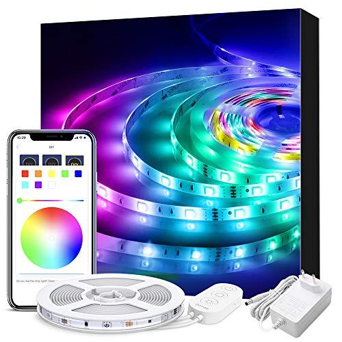 Govee Musique Ruban à LED Étanche avec APP, 5M Bande LED 5050 RGB Multicolore SMD Microphone Intégré, LED Flexible Décoration Pour Noël, Maison ou Cuisine 12V 1.5A