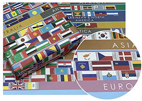 eVincE 10 World Flags Gift Wrapping Paper roll | Globe Country Flag | office gifts children adults kids return gifting wraps | large wrapper 50 x 70 cms | Birthday Christmas Hanukkah New Year