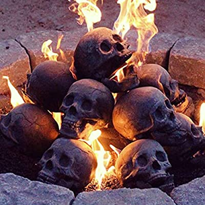 Ceramic Imitation Human Skull Fire Log, Interesting and Unique Ornament Decoration, Skull On The Barbecue for Wood Fireplace, Campfire, Home Decor, Barbecue for Wood Fireplace from kebnike