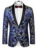 Coofandy Men's Stylish Dragon Floral Suits Fashion Slim Fit One-Button Blazer Jacket,Small,Blue