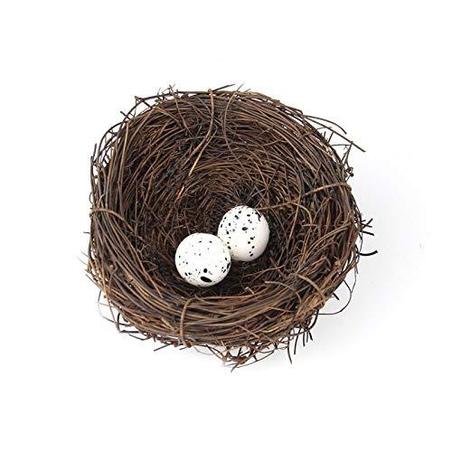 Nobrand SDHF Simulation Nid d'oiseau avec 2 PCS Oiseaux Egg Vacances décoration décoration de Jardin, diamètre: 10 cm
