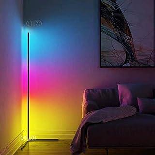 QJUZO Moderna LED Lámpara de Pie RGB Regulable con Control Remoto Lámpara de Suelo Luz Blanca y Color 20W para Salón, Dormitorio y Oficina Decoración 140cm