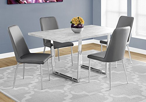 "Monarch Specialties Dining Table, 59""L x 35.5""D x 30.25""H, Grey"