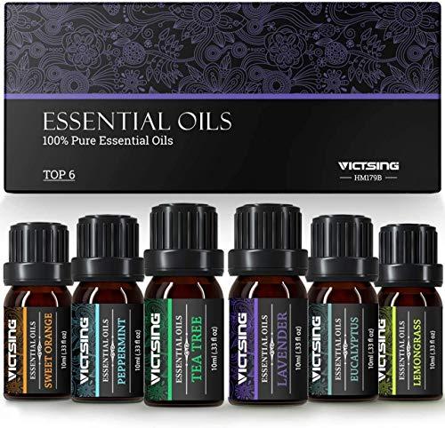 VicTsing Aceites Esenciales para Humidificador,100{daee8f5ffce1c36003adfed4cda713536e5c37bc17dab5cdeafd9c034d0281c4} Pure Natural,Perfume de Aromaterapia, 6*10ml-Naranja Dulce, Lavanda, Arbol de Té, Hierba de Limón, Eucalipto y Menta,etc. (6)