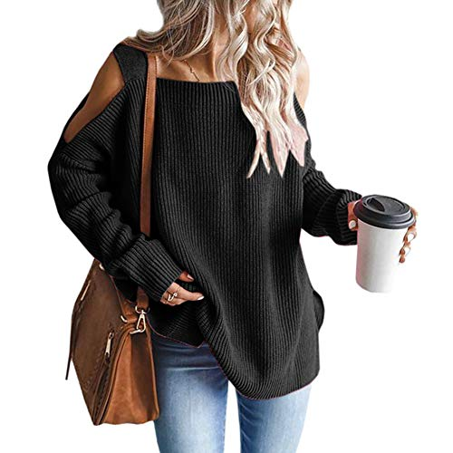 MaQiYa Womens Cold Shoulder Oversized Sweaters Batwing Long Sleeve Chunky Knitted Winter Tunic Tops Black