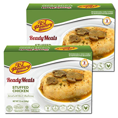 Kosher MRE Meat Meals Ready to Eat, Gluten Free Stuffed Chicken Breast Rice (2 Pack) - Prepared Entree Fully Cooked, Shelf Stable Microwave Dinner – Travel, Military, Camping, Emergency Survival Food