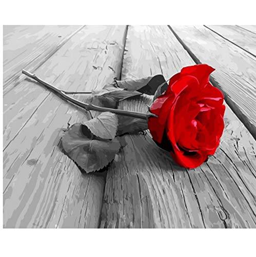 OKOUNOKO Puzzle De 1000 Piezas para Adultos Cuadro De Decoración De Bricolaje para La Decoración del Hogar Rosa Roja Montaje Personalizado De Madera Jigsaw Puzzles Divertido