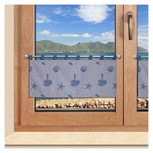 SeGaTeX home fashion Badgardine Scheibengardine Rügen Muschel Seestern in blau mit Schlaufenblau mit Schlaufen