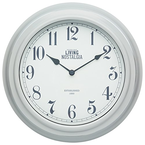 Kitchen Craft 25,5 cm Living Nostalgia Reloj de Pared para Interiores, French Gris