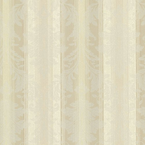 Chesapeake SRC01783 Rangeley New Avalon Stripe Wallpaper, Beige