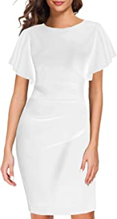 Women's 1950s Elegant Vintage Work Casual Ruffled Sleeve Cocktail Party Pencil Bodycon Dress 935