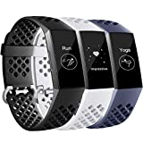 Maledan Bands Compatible with Fitbit Charge 3 and Charge 4, Breathable Sport Band Replacement Wristbands with Air Holes for Charge 4/ Charge 3/ Charge 3 SE Fitness Tracker Women Men, 3-Pack, Small