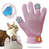 FURBB Pet Grooming Glove - Cat Dog Gentle Deshedding Brush Glove - Efficient Pet Hair Remover Massage Mitt - Enhanced Five Finger Design Perfect for Long Short Fur, Right Hand (Pink) Pet Bathing