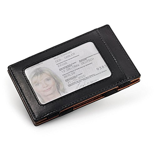 HC Handel Magic Wallet Echtleder Geldbörse/Portemonnaie schwarz/cognacfarben - 2