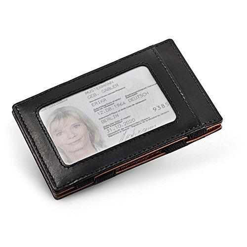 HC Handel Magic Wallet Echtleder Geldbörse/Portemonnaie schwarz/cognacfarben - 4