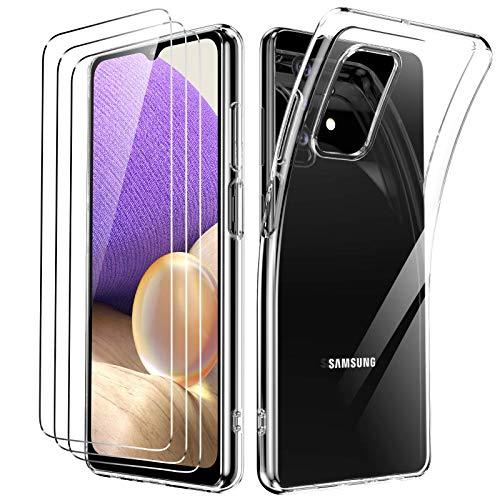 Oududianzi Funda para Samsung Galaxy A32 5G +[3X Protectores de Pantalla in Cristal Templado], Carcasa Blando Delgado Claro Funda de Silicona Gel TPU - Transparente