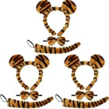 9 Pieces Tiger Theme Costume Set Include Tiger Ears Headband Tiger Bowtie and Tiger Tail for Halloween Cosplay Costume or Party Decoration