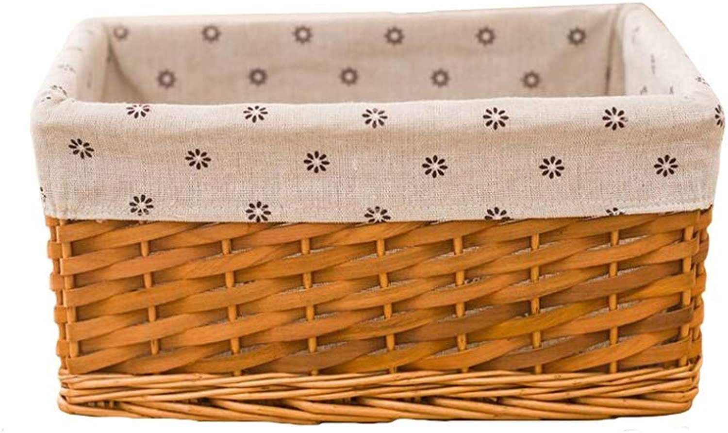 MUMA Storage Basket Rattan Weaving Lining Detachable Easy to Clean Durable Simple Home Supplies (color   T2, Size   Small)