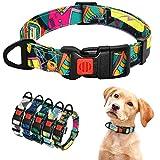 ZT-shop Collar de Nylon Cachorro Collar para Perro Impreso Estilo Bohemio pequeño Collar de Chihuahua franceses BullBeagle Productos del Animal doméstico, Rosa, L