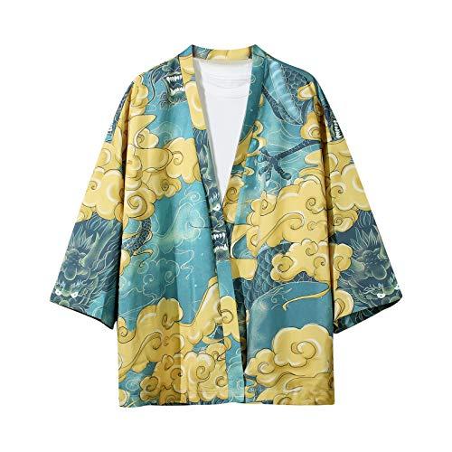 Camisa japonesa Harajuku de manga corta para hombre, Azul / Patchwork, M/3XL