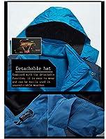 メンズスポーツジャケット 屋外の取り外し可能な裏地、取り外し可能なカバー付きの女性の防風で暖かいハイキングジャケット,Blue-XXLarge