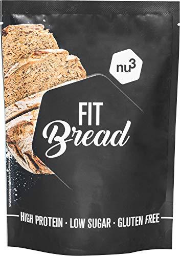 nu3 Fit Bread - Préparation pour pâte à pain protéiné 230g riche en protéines faible en lipides sans gluten vegan - Acides gras insaturés grâce au lin et aux graines de chia - Mélange prêt à l'emploi