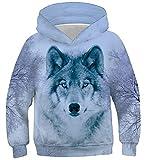 Belovecol 3D Wolf Hoodie Personalisierte Pullover Kinder Neuheit Kapuzenpullover Tier Kapuzen Top Sweatshirt Atmungsaktive Kapuzenpulli für Junge Mädchen