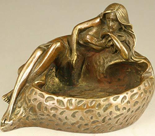 Ruiy Antiguo asiático chino viejo bronce cenicero mujer encantadora mujer estatua