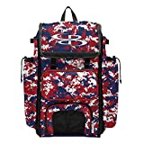 """2. Boombah Catcher's Superpack Bat Bag Camo - 23-1/2"""" x 13-1/2"""" x 9-1/2"""" - Royal/Red/White - Holds 4 Bats - Backpack Version (no Wheels)"""
