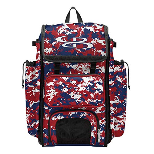 """Boombah Catcher's Superpack Bat Bag Camo - 23-1/2"""" x 13-1/2"""" x 9-1/2"""" - Royal/Red/White - Holds 4 Bats - Backpack Version (no Wheels)"""