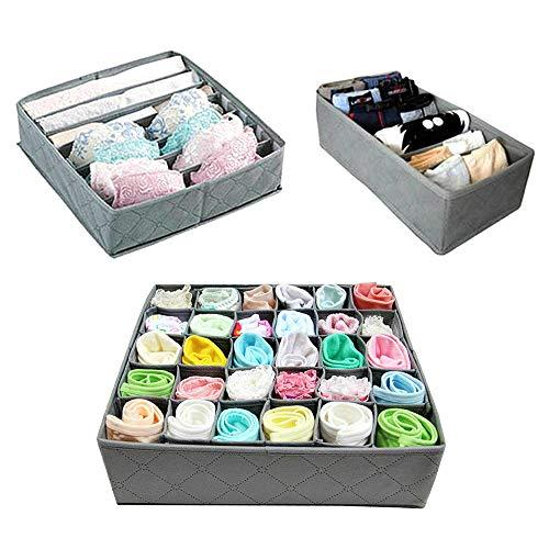 3PCS Aufbewahrungsbox, Schubladenunterteilungen, Kleiderschrank Schublade Organizer, Stoffbox zur Aufbewahren für Unterwäsche Ordnungssystem