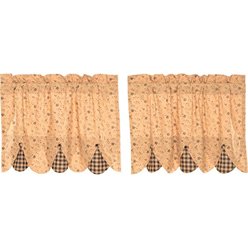 VHC Brands Classic Country Primitive Kitchen Window Curtains-Maisie Tan Lined Tier Pair, L24 x W36