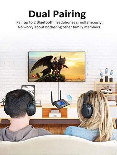 ZIOCOM Receptor Transmisor Bluetooth para TV, Pantalla LCD Visible única, Adaptador Inalámbrico Bluetooth con aptX de Baja Latencia, Auxiliar óptico Digital de 3,5 mm para Computadora, PC, Altavoces