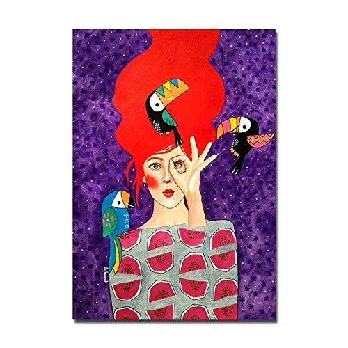 BGFDV Cartel Abstracto Moderno Chica de Moda Lienzo Pintura pájaro Flor Cartel impresión Mural Sala de Estar decoración de Arte de Pared