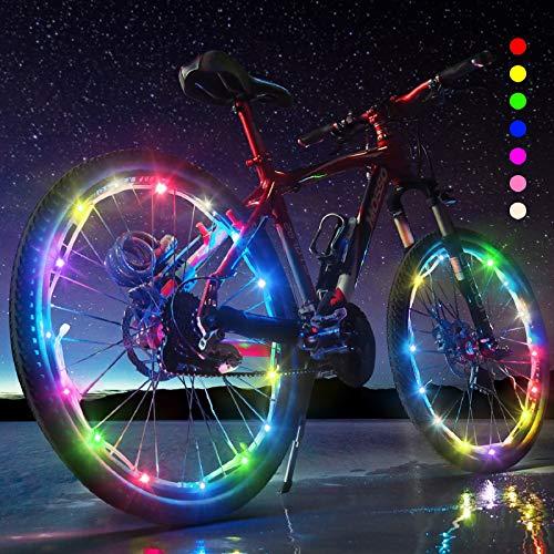 2-Tire Pack Bike Wheel Lights - Waterproof LED Bike Spoke Lights for Adult Bike/Kids Bike Night Riding - 7 Colors LED Outdoor Bicycle Tire Safety Light Bike Spoke Decorations