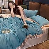 funda nordica cama 150 gris,Lecho de seda de hielo de verano, conjunto de cuatro piezas, satén de seda, enfriamiento de la cama, cama, cama individual, familia y amigos, regalo del día de la madre-Vo