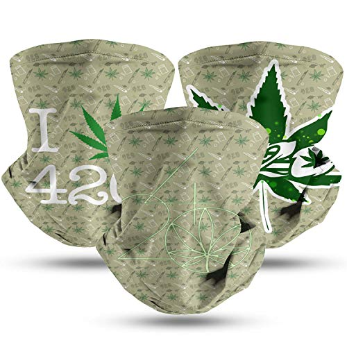 420 Cannabis Culture Love Womens Mens Neck Scarf Breathable Gator Mask for Sport Dustproof Face Sheild