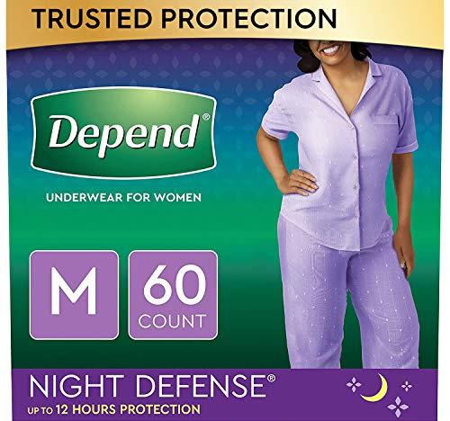 Depend Night Defense Incontinence Underwear for Women, Disposable, Overnight, Blush, Medium (60 Count)