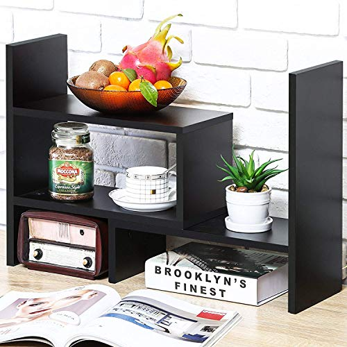 YCOCO Bookshelf Desk Storage Organizer,Multipurpose Display Natural Stand Desk for Home Decor,Office Supplies Shelves Organizer,Brown