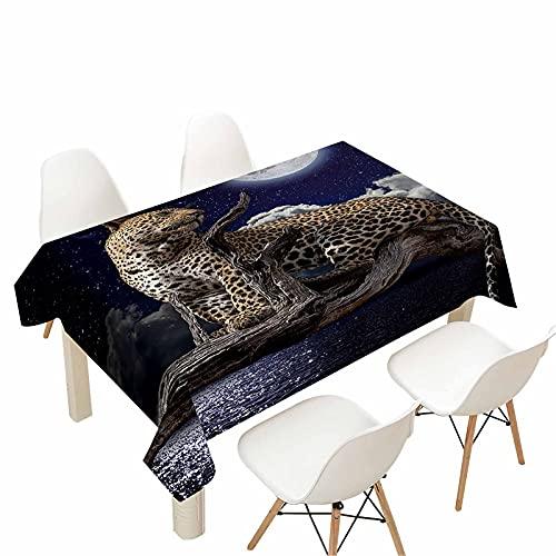 Morbuy Manteles Impermeables Antimanchas Mesa Rectangular, 3D Leopardo Impresión Mantel Lavable para Decoración Hogar Cocina Comedor Fiesta Cumpleaños Jardín (Cielo Estrellado,140x140cm)