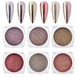 MEILINDS 6 Box Rose Gold Chrome Pure Powder Magic Mirror Effect for Nail Art Decoration